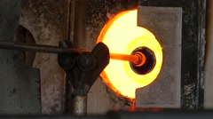 Glassworks glass manufacturing process - glass in the furnace  Stock Footage