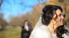 Nice couple has a good time at the castle and park Stock Footage