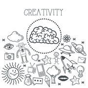 Doodle icon design. creativity icon. draw concept - stock illustration
