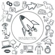 Doodle icon design. imagination icon. draw concept - stock illustration