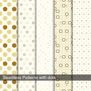 Seamless retro patterns with circles and dots. - stock illustration