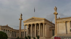 Academy of Athens in Greece - evening clouds time lapse Stock Footage