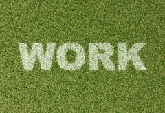 WORK - grass letters on football field - stock illustration