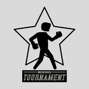Boxing design. Tournament icon. White background , vector - stock illustration