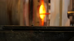Glassworks glass manufacturing process Stock Footage