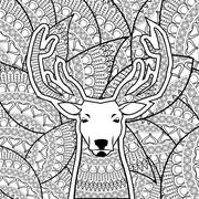 Animal design. Adult coloring concept. white background - stock illustration