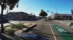 Driving Past Belmont Shore District Shops- Long Beach CA Stock Footage