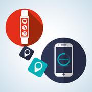 Smart device design. Gadget icon. Isolated illustration , vector - stock illustration