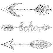 Bohemian  Arrows set with feathers. Hand drawn Arrows set for ad - stock illustration