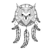 Hand drawn zentangle Owl Bird on Dream catcher with feathers for - stock illustration