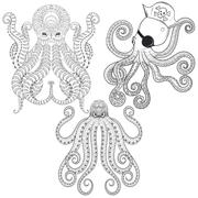Tattoo Octopus set. Hand drawn zentangle tribal Octopuses for ad - stock illustration