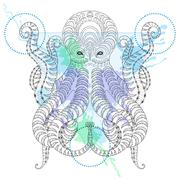 Tattoo Octopus. Zentangle stylized  Hand drawn tribal Octopus in Stock Illustration