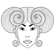 Hand drawn zentangle Zodiac sign Aries with girl face for adult - stock illustration