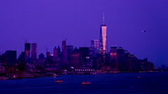 At night,the One World Trade Center and modern buildings in Manhattan Stock Footage