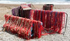 Fishing nets on the beach of Positano Stock Photos