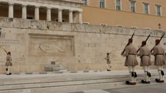 Symbolic Guard change at Tomb of the Unknown Soldier in Athens Stock Footage