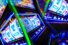 Slot Machine Casino Mania. Vegas Play and Fun Conceptual Photo. Stock Photos