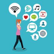 Social media design. gadget icon. Multimedia illustration, editable vector - stock illustration