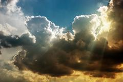 Stormy Atmosphere Nature Photo. Stormy Cloudscape. - stock photo