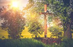 Small Wayside Shrine in the Lesser Poland. Crucifix Shrine. Poland, Europe. - stock photo