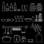Cooking utensils line icons - stock illustration