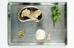 Herbal medicine on surgical tray Stock Photos