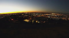 Pan Los Angeles Basin City Lights At Sunset From Signal Hill Stock Footage