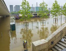 Paris,France - June 05, 2016: River Seine Flooding in Paris Kuvituskuvat