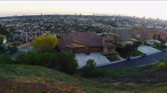 Pan Of Suburban Homes On Signal Hill And Long Beach California Stock Footage