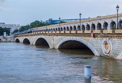 Paris,France - June 5, 2016: River Seine Flooding in Paris Stock Photos