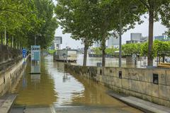 Paris,France - June 05, 2016: River Seine Flooding in Paris Stock Photos