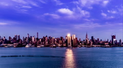 At evening,the panoramic view of modern buildings in Manhattan - stock footage