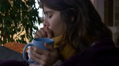 Sick woman cough ill flu fever sneeze blow nose cold winter headache sore throat Stock Footage