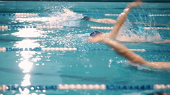 Swimming competition in the pool Stock Footage