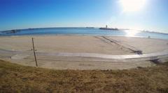 Sun Shining Over Bay Long Beach - High Angle Pan 4K Stock Footage