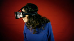 Virtual reality woman experience wow Stock Footage