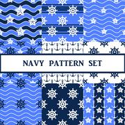 Vector navy seamless pattern set Stock Illustration