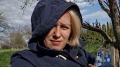 Woman Enjoying Fresh Air - stock footage