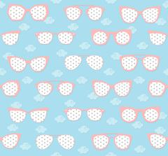 pink and blue sunglasses summer pattern - stock illustration