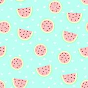 Watermelon summer pastels seamless pattern Stock Illustration