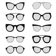 Sunglasses silhouettes black and white - stock illustration