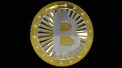 Rotating golden bitcoin Stock Footage