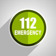number emergency 112 icon, green circle flat design internet button, web and  - stock illustration