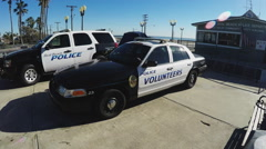 Seal Beach California Police Department And Police Cruisers Stock Footage