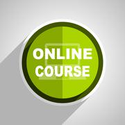 online course icon, green circle flat design internet button, web and mobile  - stock illustration