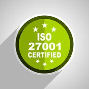 Iso 27001 icon, green circle flat design internet button, web and mobile app  Piirros