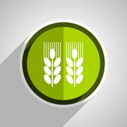 Agricultural icon, green circle flat design internet button, web and mobile a Stock Illustration