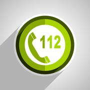 Emergency call icon, green circle flat design internet button, web and mobile Stock Illustration