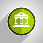 Museum icon, green circle flat design internet button, web and mobile app ill Stock Illustration