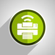 Printer icon, green circle flat design internet button, web and mobile app il Stock Illustration